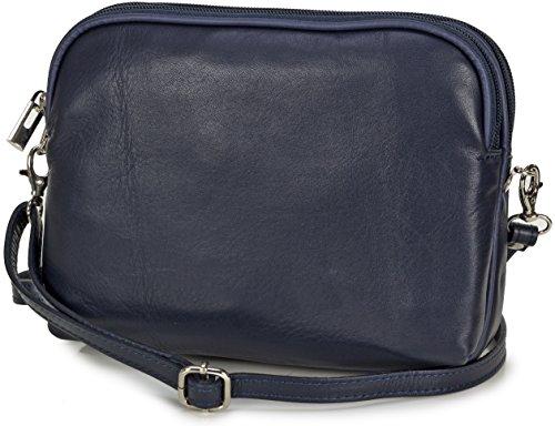 Taschenloft kleine italienische Damen Umhängetasche aus weichem Nappa Leder (20x16x9cm) Dunkelblau