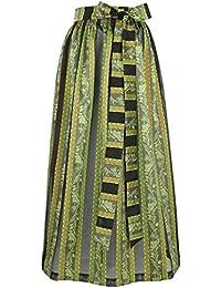 Damen Stützle Dirndl-Schürze lang gestreift schwarz grün, grün,
