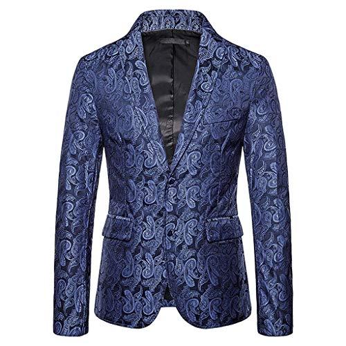 TOALOL Abito Sposo Blazer Uomo Matrimonio Business Slim Fit Elegante Floreale Giacca Due Pulsanti (Medium,02-Marina Militare)