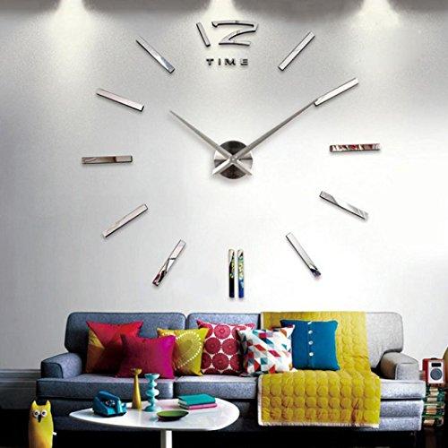 Kolylong Horloge Murale Design Luxe DIY Horloge De Mur 3D DéCor Du Foyer Cloche Refroidir Miroir Autocollants Montre DéCoration Horloge (Argent)