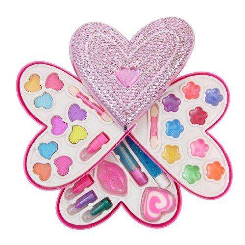 Petite Girls Heart Shaped Cosmetics Play Set - Fashion Makeup Kit for Kids by Liberty Imports