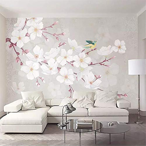 Fototapete 3D Effekt Tapete Kirschblüte Einfach Blume Vogel Grau Vliestapete 3D Wallpaper Moderne Wanddeko Wandbilder