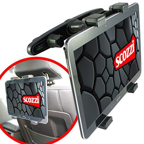 """scozzi Kopfstützen Tablet KFZ Halterung ( Universal für Tablets von 7"""" - 11"""" ) Auto Halter schwarz PC Kopfstütze Rücksitze Rücksitz PKW LKW"""