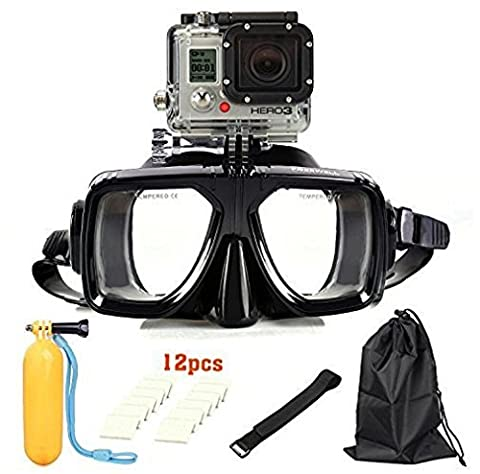 Diving Mask, UMsky Water Sports Diving Equipment Goggles Swimming Glasses Tough Tempered Glass lens Anti Fog Masks and Anti Leak for GoPro HERO4 /3+ /3 /2 /1 Apply to Men Women Youths Adults (Black)