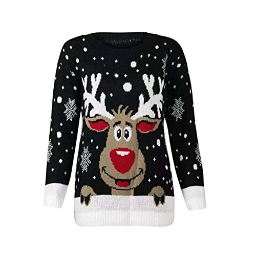 PURL Damen Pullover * One Size Gr. S/M (34-36), Rudolph Snowflake Black -