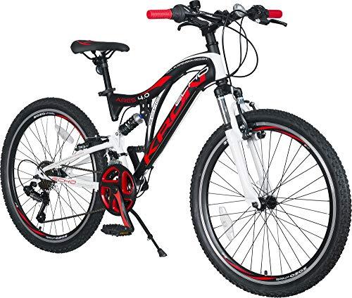 KRON ARES 4.0 Vollgefedertes Kinder Mountainbike 24 Zoll ab 10, 11, 12, 13, 14 Jahre | 21 Gang Shimano Kettenschaltung mit V-Bremse | Kinderfahrrad 15 Zoll Rahmen Vollfederung | Schwarz Rot