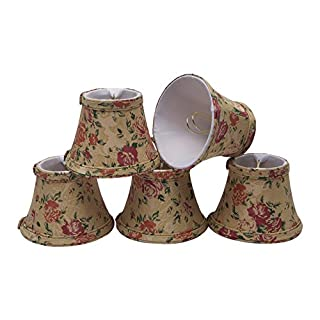 Aspen Creative 30005-5 Small Bell Shape Chandelier Clip-On Lamp Shade Set (5 Pack), Transitional Design in Floral Print, 5