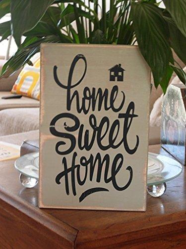 Cartel de Madera Home Sweet Home. Ideal para Decorar la entrada de tu casa con un Bonito Mensaje. Acabados estilo Vintage, Retro, Clásico. Regalo para El-Ella
