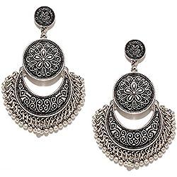 YouBella Fashion Jewellery Afghani Tribal Oxidised Dangler Stylish Fancy Party Wear Earrings for Girls and Women (Silver)