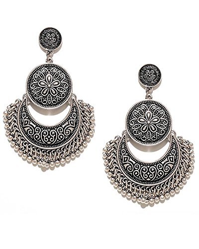 YouBella Fashion Jewellery Afghani Tribal Oxidised Dangler Stylish Fancy Party Wear Earrings...