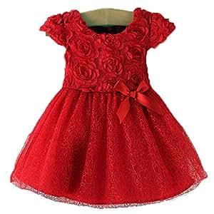 Mignon petite fille printemps été automne robe tachetée rouge (manches courtes, 12-18 mois)