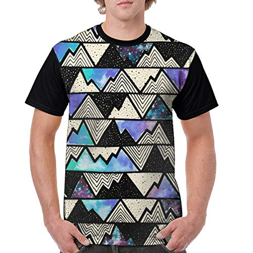 Cosmos Mountains Blue Men's T Shirt Cotton Tall Holiday Lightweight Medium