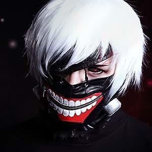Cosplay masques Tokyo Ghoul Kaneki Ken Masque réglable en cuir Pu avec fermeture Éclair
