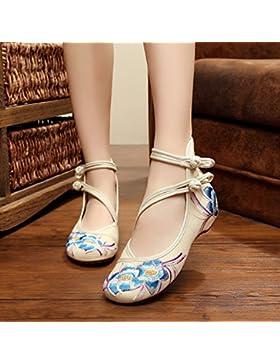 YQQ Zapatos bordados, lenguado de tendón, estilo étnico, hembrashoes, moda, cómodo, zapatos de baile , meters...