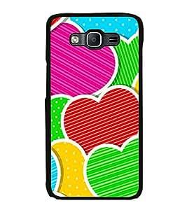 Printvisa Ultra Multi Colour Hearts 2D Hard Polycarbonate Designer Back Case Cover for Samsun...