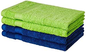 Amazon Brand - Solimo 100% Cotton 4 Piece Hand Towel Set, 500 GSM (Iris Blue and Spring Green)