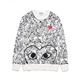 HEYPLAY CDG Heart Long Sleeve Smudged red Heart Round Neck Cotton Plus Velvet Couple Sweater for Men/Women