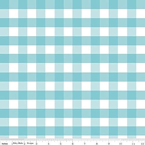 GINGHAM FABRIC - 0.5 Metre - Large Aqua Gingham - RBF410 - Gingham Fabric by Riley Blake - 100% Cotton (Large Aqua)