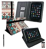 Emartbuy® AlpenTab 7 Zoll Tablet PC Universalbereich Aztec PU Leder Multi Winkel Folio Executive Case Cover Wallet Hülle Schutzhülle mit Kartensteckplätze + Schwarz 2 in 1 Eingabestift