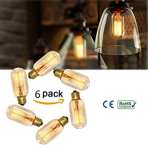 Elfeland 6pcs 40W Lampadina Edison, Lampadine Vintage Retro Style Lampadina Decorativa, Filamento lampade Vite E27, Lampadine a incandescenza dimmerabile T45