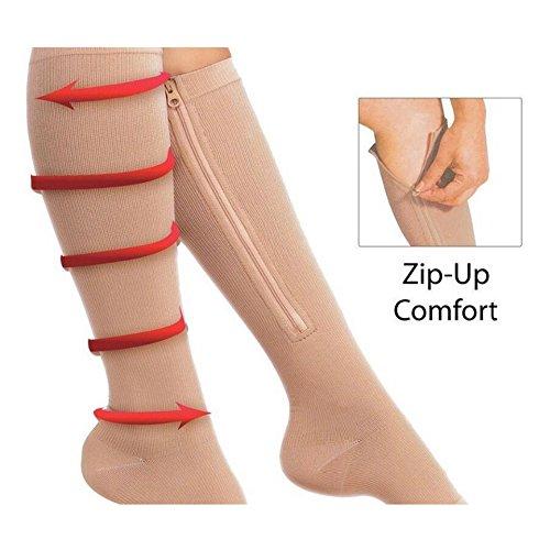 Swiftswan Zipper Compression Socken, 1 Paar Zip Sox Socken Stretchy Zipper Bein Unterstützung Unisex Open Toe Knie Strümpfe (Geschlossen-toe Strümpfe)