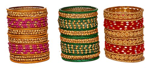 A.B.S. By Allen Schwartz Multi Colour 3 Designer Glass Bangle Set Studded With Star For Women And Girls (2.2)