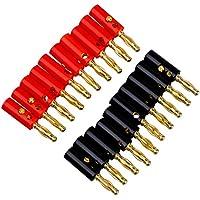 Sunluxy Mall - Clavijas metálicas abombadas (4 mm, 20 unidades), color rojo y negro