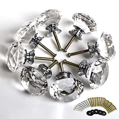 WMicroUK Top Quality 8 X LS-D3020 40MM Clear Crystal Glass Diamond Cut Door Knobs Kitchen Cabinet Drawer knobs+Screw Home Decorating - cheap UK light shop.