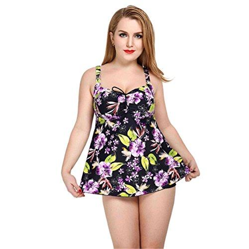Mufly-Mujer-Bikini-atractiva-Trajes-de-bao-de-dos-Pieza-Color-flor-Push-Up-Baador-Elstico-Vestido-de-Talla-Grande-con-Braguitas-Mujeres-Bikini-Cuello-en-V-Morado-5XL