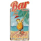 Woodpassion Holzschild Bar Open 24h Schild 39x20 cm Strand Party Kellerbar Theke Dekoschild MDF
