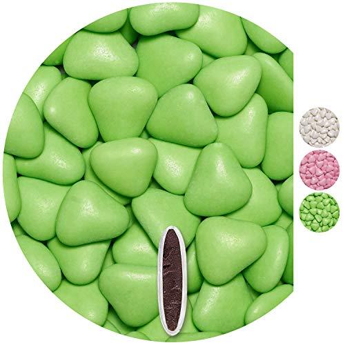 EinsSein 0,5kg Dragées mariage au chocolat cœur grand vert clair brillant dragees bapteme communion amandes feter et recevoir fêter de fete couleur pas cher aux bombe tag voir mes etui contenant bo