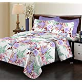 Bombay Dyeing Elixir 144 TC Cotton Double Bedsheet with 2 Pillow Covers - Purple