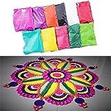 Ascension (Set OF 10) 100 Grams Each Pack Rangoli Kit Creativity Diwali Floor Decoration Rangoli Art Premium Diwali Rangoli Powder Sand High Quality Rang For Navratri,Pongal,Pooja,Mandir (Multicolours)