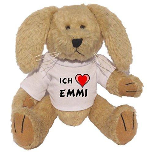 Preisvergleich Produktbild Plüsch Hase mit T-shirt mit Aufschrift Ich liebe Emmi (Vorname/Zuname/Spitzname)