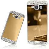 Xtra-Funky Range Samsung Galaxy A5 Slim TPU Silicone Shiny Mirror Case with Sparkly Crystal Diamante Rhinestones - Gold