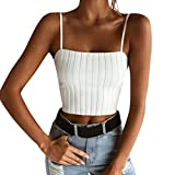 PINEsong Damen Sexy Bandage Backless Crop Top Kurz Trägershirts Tank Tops Weste mit Bownot Halfter Off Shoulder Bluse T-Shirt Camisole Weste Cami Tank Top (S, Weiß)
