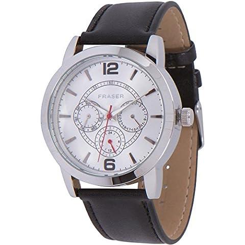 Hombres de plata vestido de cronógrafo reloj de (día, fecha, 24horas. Indicación) negro cuero banda movimiento
