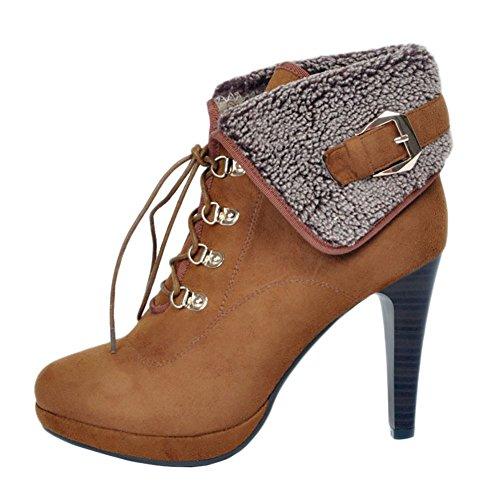 MERUMOTE Damen x-162 Plateau Ankle Boots Kunstfell Lacing Trichterabsatz Stiefeletten Round Toe Boot EU Size 34-47 Braun