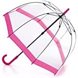 Fulton Birdcage Clear Dome Pink Umbrella