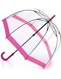 Fulton Birdcage - 1 clairement parapluie en forme de dôme avec la frontière rose