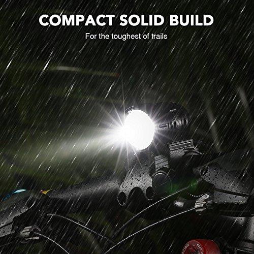 LED Fahrradlicht, USB Wiederaufladbar Taschenlampe Frontlicht Set Super Helle 1200 LM Wasserdichte LED Fahrradbeleuchtung mit Akku-Pack und Rücklicht - 5