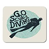 AOHOT Mauspads Blue Dive Retro Go Scuba Diving Diver and Vintage Fonts Aquatic Sport Mouse pad 9.5