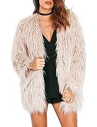 Simplee Apparel le maniche lunghe di finto pelo pelo caldo d'inverno outwear giacca pesante soprabito nero femminile