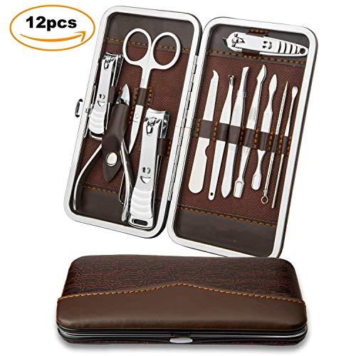 Tagliaunghie Set Professionale Manicure & Pedicure Set,Hovast 12 Pezzi Manicure Set,Set Tagliaunghie Forcipe Forbice in Acciaio Inossidabile per Cura Personale e Bellezza