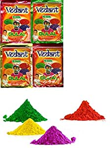 Holi Herbal Gulal Pouch Pack @ 100Gms Vedant 4 Pcs | 100% Safe | Assorted Colours | Non Toxic | Holi Festival Item | Kids Return Gift