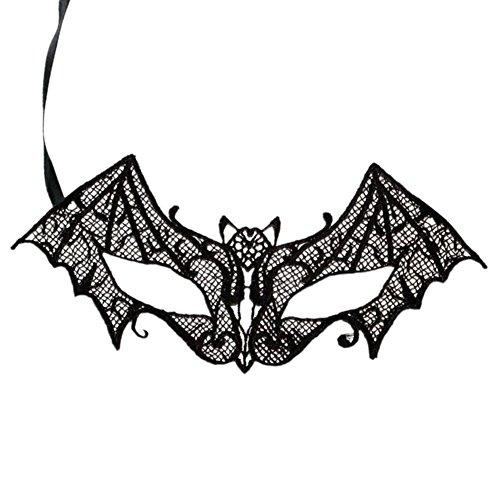 Drawihi Maske Damen Sexy Fledermaus Form Spitzenmaske Cosplay Venezianischen Halloween Costume Party Maskerade Maske (Schwarz)
