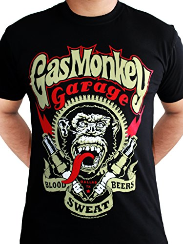 Gas-Monkey-Garage-Spark-Plugs-Blood-Sweat-Beers-Licensed-Mens-Black-T-shirt