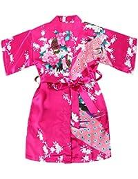 Chicas bata kimono satén traje traje ropa de noche con pavo real y flores