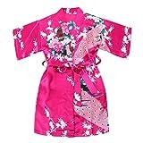 FAYBOX BRIDAL, vestaglia satinata per bambina stile kimono, con pavoni e fiori, adatta per spa, età dai 2 ai 12 anni Hot Pink 1-2 Anni