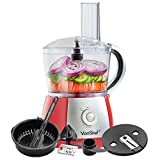 VonShef 2.5L Powerful Food Processor Blender Chopper Multi Mixer 700W, Red - 10 Speed and Pulse Action + Juicer Attachment